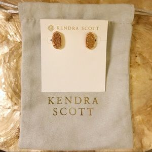 Kendra Scott Ellie Stud Earrings Rose Gold Drusy